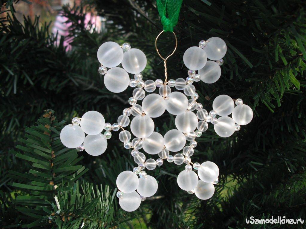 Как сделать новогодние игрушки из бусин на елку