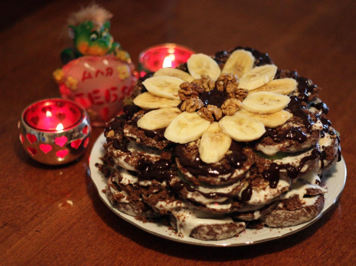 торт без выпечки из шоколадных пряников рецепт