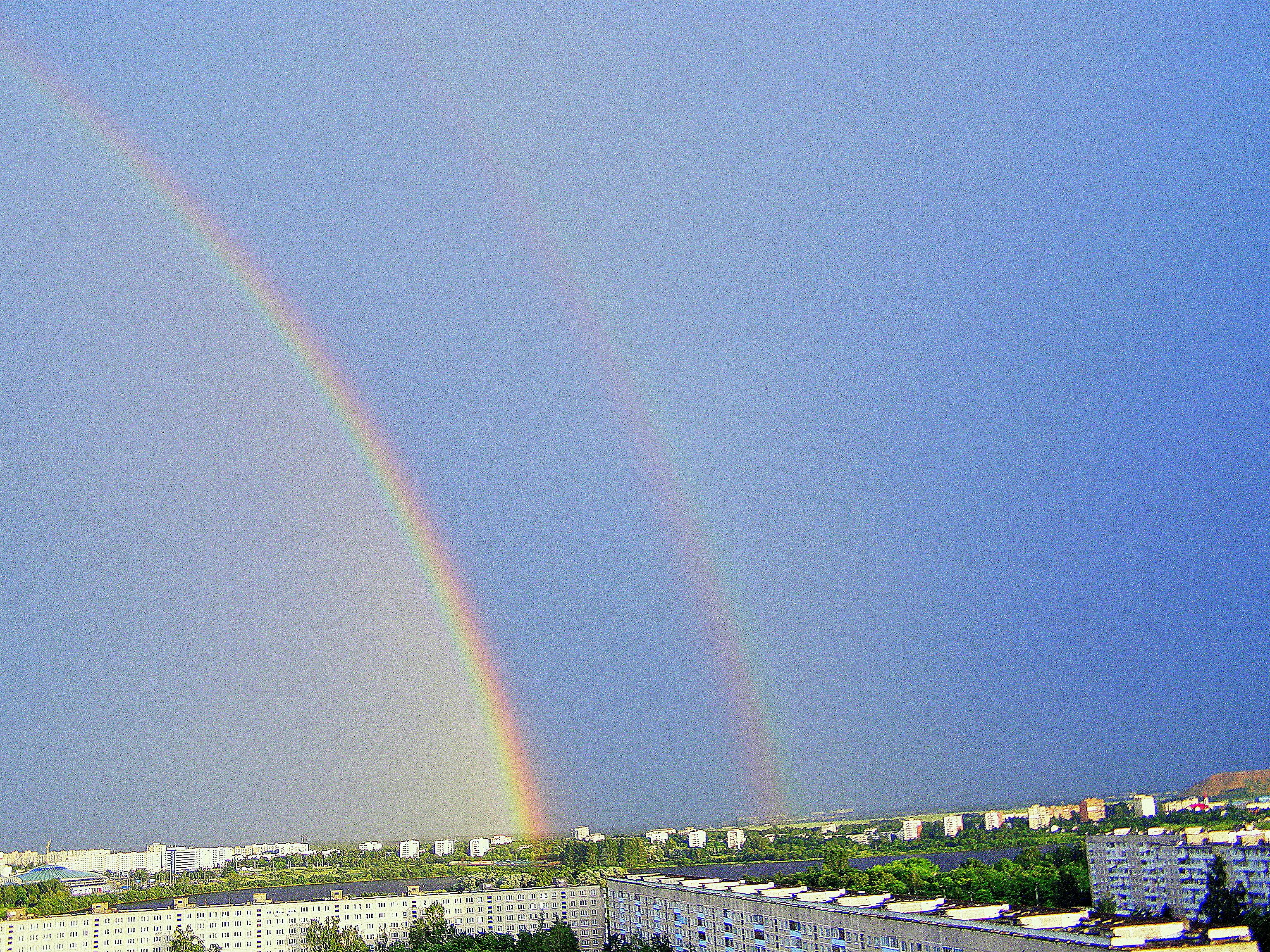 шаблон листа картинки радуга над городом особому